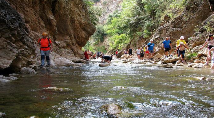 Ο Ορειβατικός Σύλλογος διασχίζει τον ποταμό Νέδα