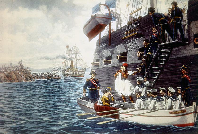 Ο Βασιλιάς Όθωνας και η Βασίλισσα Αμαλία επιβιβάζονται στο HMS Scylla.